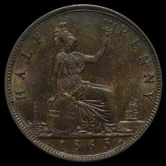 1865 Queen Victoria Bun Head Halfpenny Reverse