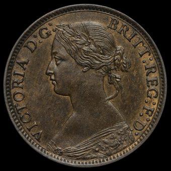 1869 Queen Victoria Bun Head Farthing Obverse