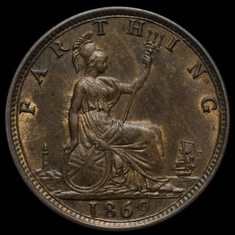 1869 Queen Victoria Bun Head Farthing Reverse