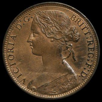 1870 Queen Victoria Bun Head Penny Obverse