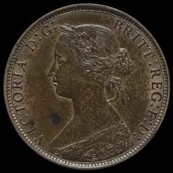 1871 Queen Victoria Bun Head Halfpenny Obverse