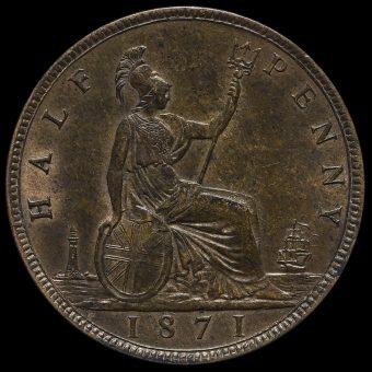 1871 Queen Victoria Bun Head Halfpenny Reverse