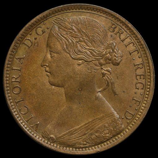 1871 Queen Victoria Bun Head Penny Obverse