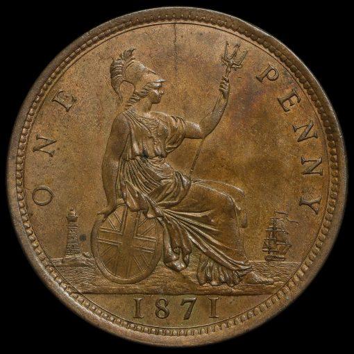 1871 Queen Victoria Bun Head Penny Reverse