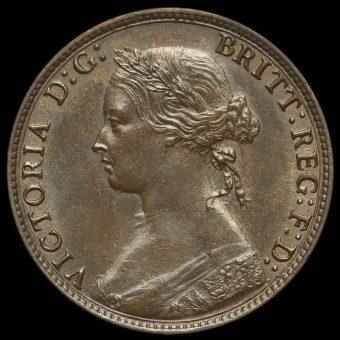 1874 H Queen Victoria Bun Head Halfpenny Obverse