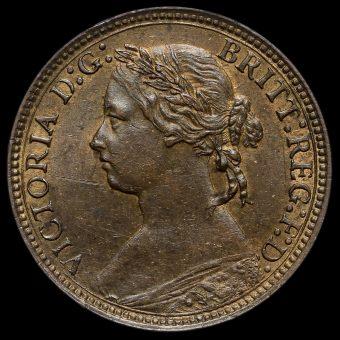 1875 H Queen Victoria Bun Head Farthing Obverse