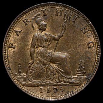 1875 H Queen Victoria Bun Head Farthing Reverse