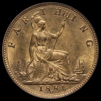 1881 H Queen Victoria Bun Head Farthing Reverse