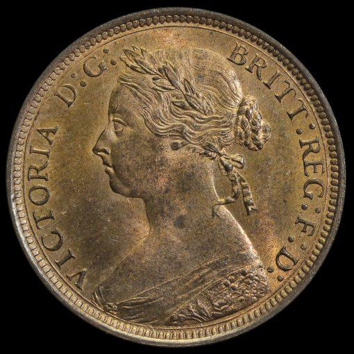 1881 H Queen Victoria Bun Head Halfpenny Obverse
