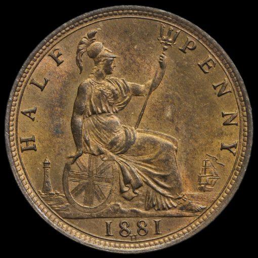 1881 H Queen Victoria Bun Head Halfpenny Reverse