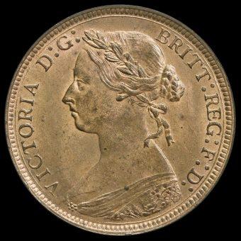 1883 Queen Victoria Bun Head Halfpenny Obverse