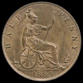 1883 Queen Victoria Bun Head Halfpenny Reverse