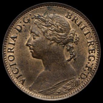 1885 Queen Victoria Bun Head Farthing Obverse