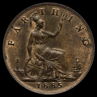 1885 Queen Victoria Bun Head Farthing Reverse