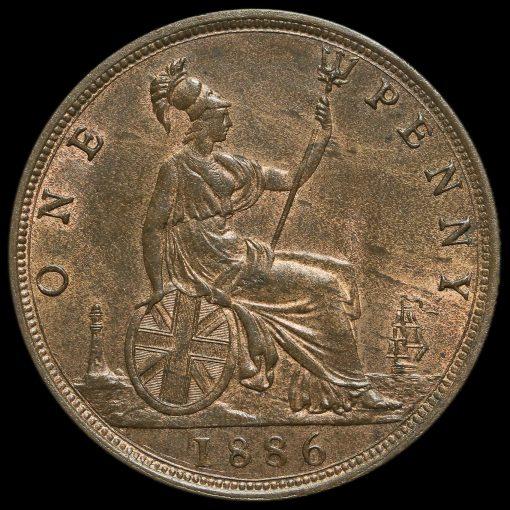 1886 Queen Victoria Bun Head Penny Reverse