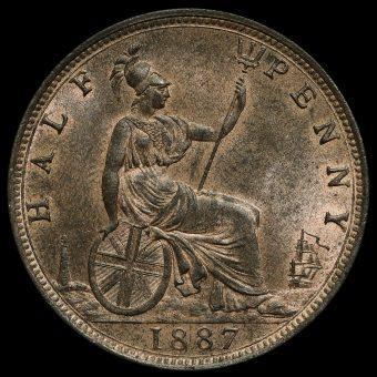 1887 Queen Victoria Bun Head Halfpenny Reverse