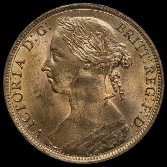 1887 Queen Victoria Bun Head Penny Obverse