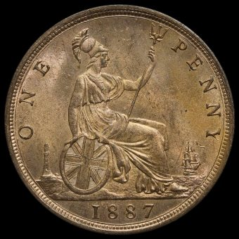 1887 Queen Victoria Bun Head Penny, Uncirculated Reverse