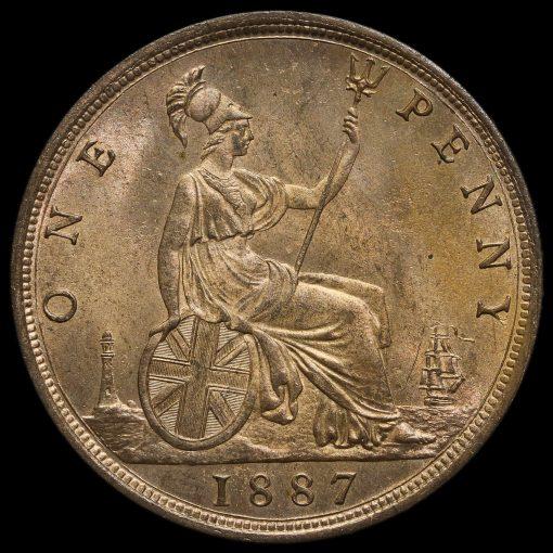 1887 Queen Victoria Bun Head Penny, Uncirculated Reverse