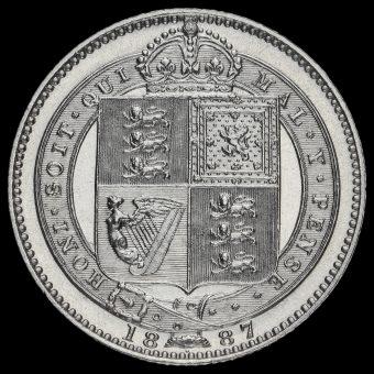 1887 Queen Victoria Jubilee Head Silver Shilling Reverse