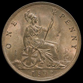 1892 Queen Victoria Bun Head Penny Reverse