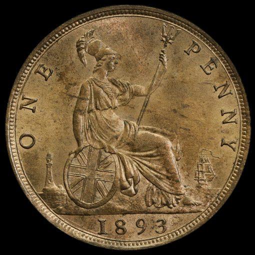 1893 Queen Victoria Bun Head Penny Reverse