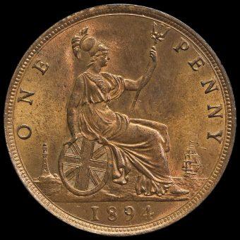 1894 Queen Victoria Bun Head Penny Reverse