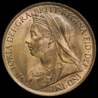 1895 Queen Victoria Veiled Head Penny Obverse