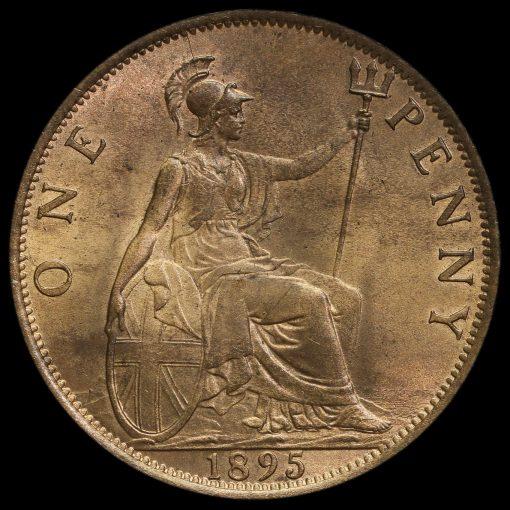 1895 Queen Victoria Veiled Head Penny Reverse
