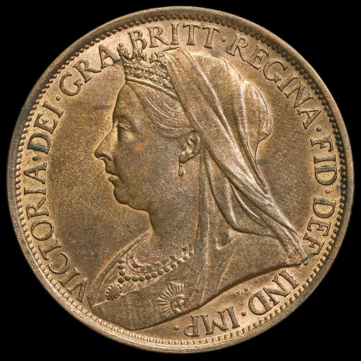 1895 Queen Victoria Veiled Head Low Tide Penny Obverse