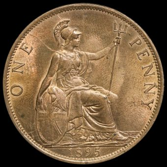 1895 Queen Victoria Veiled Head Low Tide Penny Reverse