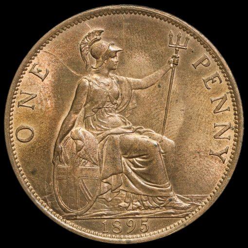 1895 Queen Victoria Veiled Head Low Tide Penny Reverse