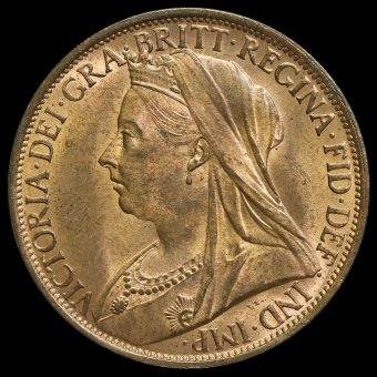 1896 Queen Victoria Veiled Head Penny Obverse