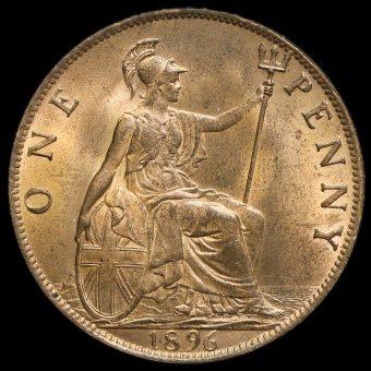 1896 Queen Victoria Veiled Head Penny Reverse