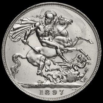 1897 Queen Victoria Veiled Head Silver LX Crown Reverse