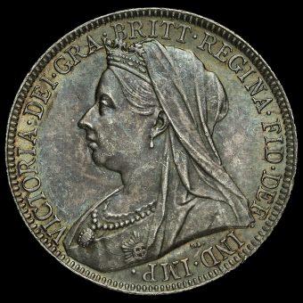 1901 Queen Victoria Veiled Head Silver Florin Obverse