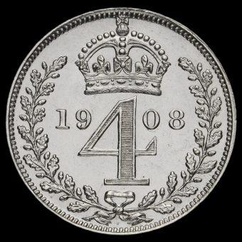 1908 Edward VII Silver Maundy Fourpence Reverse