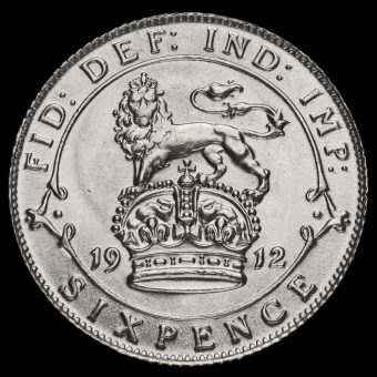 1912 George V Silver Sixpence Reverse