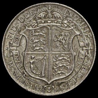 1918 George V Silver Half Crown Reverse