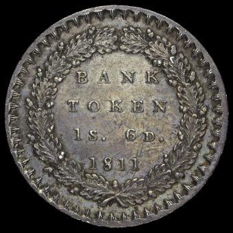 1811 George III Silver Eighteenpence Bank Token Reverse