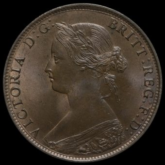 1861 Queen Victoria Bun Head Halfpenny Obverse