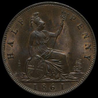 1861 Queen Victoria Bun Head Halfpenny Reverse