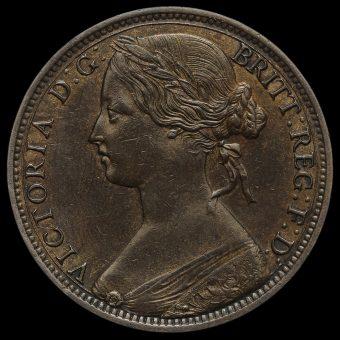 1863 Queen Victoria Bun Head Penny Obverse