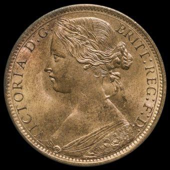 1866 Queen Victoria Bun Head Penny Obverse
