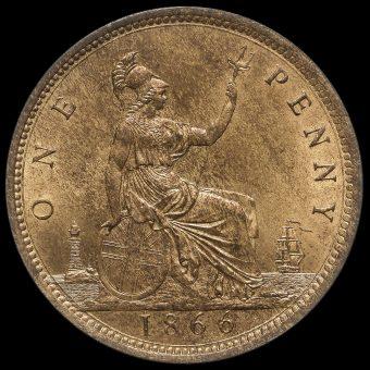 1866 Queen Victoria Bun Head Penny Reverse