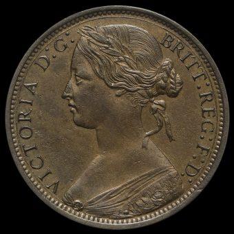 1868 Queen Victoria Bun Head Penny Obverse