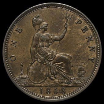 1868 Queen Victoria Bun Head Penny Reverse