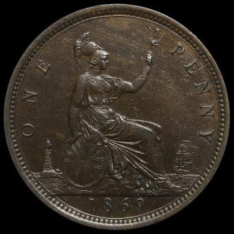 1869 Queen Victoria Bun Head Penny Reverse