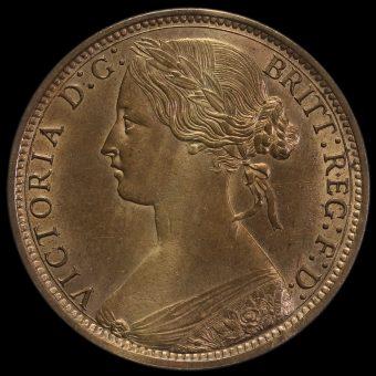 1873 Queen Victoria Bun Head Penny Obverse