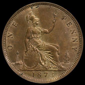 1873 Queen Victoria Bun Head Penny Reverse